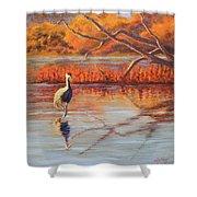 Lone Crane Still Water Shower Curtain