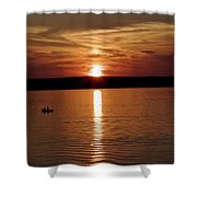 Lone Fisherman At Sunset Shower Curtain