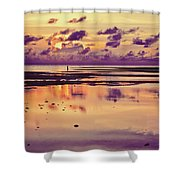 Lone Fisherman In Distance During Beautiful Reflected Sunset With Dramatic Clouds In Maldives Shower Curtain