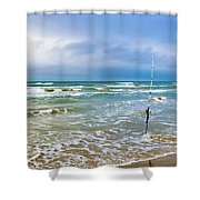 Lone Fishing Pole Shower Curtain