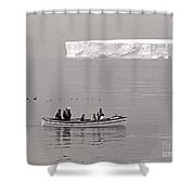 Lone Giant Iceberg And Small Sea Boat Shower Curtain