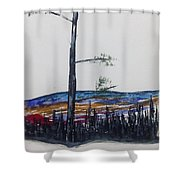 Lone Pine Over The Valley Shower Curtain