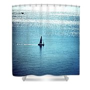 Lone Sailboat At Dawn Shower Curtain