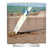 Lone Surfboard Shower Curtain