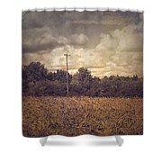 Lone Telephone Pole In Autumn Field Shower Curtain