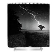 Lone Tree And Lightning Shower Curtain