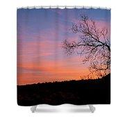 Lone Tree Sunset Shower Curtain