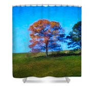 Lone Trees Painting Shower Curtain