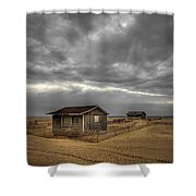 Lonely Beach Shacks Shower Curtain