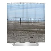 Lonely Beach Volleyball Shower Curtain