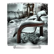 Lonely Bench In Snowfall Shower Curtain