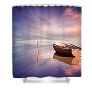 Lonely Boat And Amazing Sunset At The Sea Shower Curtain