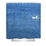 Lonely Fishing Boat Sailing On A Calm Blue Sea Shower Curtain