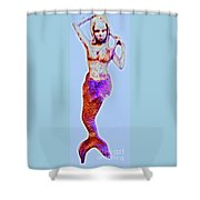 Lonely Little Mermaid Blue Shower Curtain