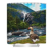 Lonely Near The Waterfall 1 Shower Curtain