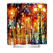 Lonely Night 3 - Palette Knife Oil Painting On Canvas By Leonid Afremov Shower Curtain