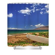 Lonely Surfboard Shower Curtain