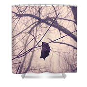 Lonely Winter Leaf Shower Curtain