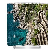 Long And Twisted Walk To The Shore - Azure Magic Of Capri Shower Curtain