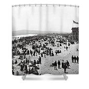 Long Beach California And Bath House C. 1902 Shower Curtain