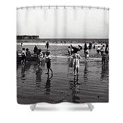 Long Beach California Bathers C. 1910 Shower Curtain