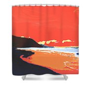 Long Blue Beach Shower Curtain