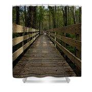 Long Boardwalk Through The Wetlands Shower Curtain