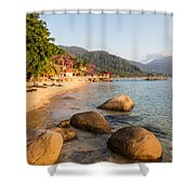 Long Chairs On A Beach In Pulau Tioman, Malaysia Shower Curtain