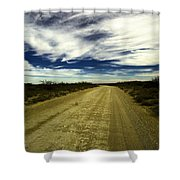 Long Dusty Road In Jal New Mexico  Shower Curtain