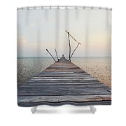 Long, Empty And Old Wooden Dock Over The Water At Sunset Shower Curtain