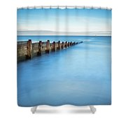 Long Exposure Of Blyth Beach Groyne Shower Curtain
