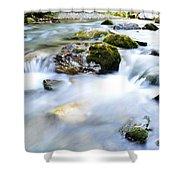 Long Exposure River Shkumbin  Shower Curtain