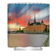 Long Exposure Stockholm Sunset Shower Curtain