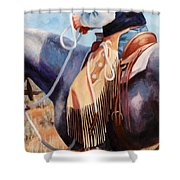 Long Fringed Chink Chaps Western Art Cowboy Painting Shower Curtain