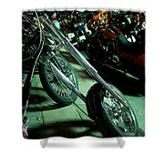 Long Front Fork And Wheel Of Chopper Bike At Night Shower Curtain