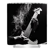 Long Hair Man Playing Guitar Shower Curtain