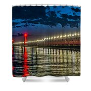 Long Lights At Grand Haven Pier Shower Curtain