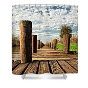 Long Long Way To The Bayou - Louisiana Dock Shower Curtain