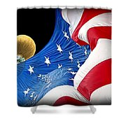 Long May She Wave The American Flag Shower Curtain