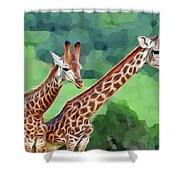 Long Necked Giraffes 2 Shower Curtain