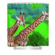 Long Necked Giraffes 3 Shower Curtain