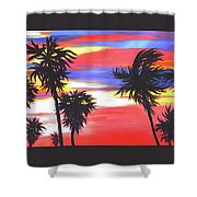 Long Skinny Sunset Shower Curtain