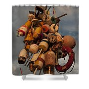 Long Wharf Buoys Shower Curtain