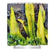 Long Yellow Leaves Shower Curtain