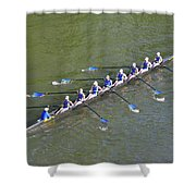 Longboat - Rowing On The Schuylkill River Shower Curtain