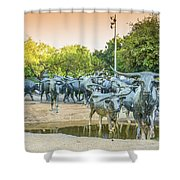Longhorn Cattle Sculpture In Pioneer Plaza, Dallas Tx Shower Curtain
