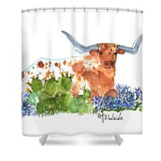 Longhorn In The Cactus And Bluebonnets Lh014 Kathleen Mcelwaine Shower Curtain
