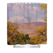 Longs Peak Diamond Autumn Shadow Shower Curtain