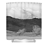 Longs Peak Snow Storm Bw Shower Curtain
