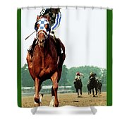 Looking Back, 1 1/2 Mile Belmont Stakes Secretariat 06/09/73 Time 2 24 - Painting Shower Curtain